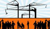 Hombres de pie en un sitio de construcción — Vector de stock