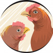 Stock Vector: Cock and hen