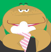 Cartoon crab eating ice creme — Stock Vector