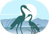 Cranes silhouettes on sunlight — Stock Vector