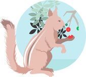 Squirrel eating berry from plant — Stock Vector