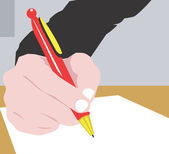 Writing with a pen — Stock Vector