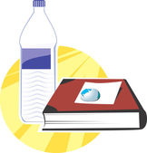 Book and water bottle — Stock Vector