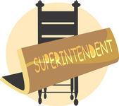 Superintendente junta cerca de una silla — Vector de stock