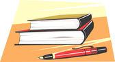 Pen ad books — Stock Vector