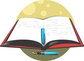 Pen and book — Stock Vector