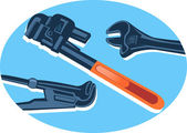 Verstelbare steekringsleutels — Stockvector