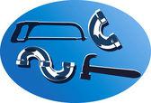 ручная пила, молоток и гнутые трубы — Cтоковый вектор