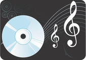 Compact disc with music notes — Stock Vector