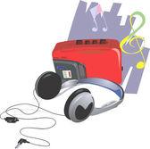 Walkman and headphone — Stock Vector