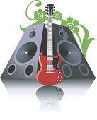 扬声器之间的吉他 — 图库矢量图片