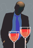 Man and wine — Stock Vector