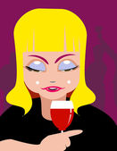 Lady and wine — Stock Vector