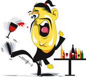Cartoon man kicking away wine glasses — Vector de stock