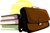 Bag and three books — Stock Vector