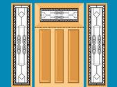 Versierde houten venster — Stockvector