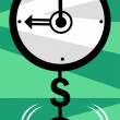 Stock Vector: Clock with dollar pendulum