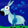 Donkey hearing music — Stock Vector