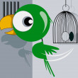 Parrot escaping from a cage — Stock Vector #32884587