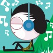 Man hearing music with headphone — Stock Vector