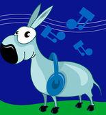 Donkey hearing music — Stock Vector