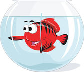 Fish in a glass aquarium — Stock Vector