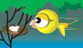 Bird flying to the nest — Stock Vector