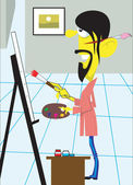 Painter standing in room and painting in a canvas — Stock Vector