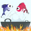 Fishes jumping from frying vessel — Stock Vector #32973933
