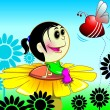 Girl sitting on a flower — Imagen vectorial