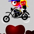 Couple on bike — Stock Vector