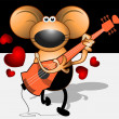 Musician mice with guitar — Stock Vector