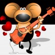 Stock Vector: Musician mice with guitar