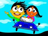 Couple riding in a car — Stockvektor