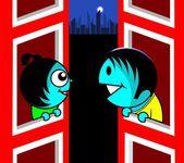 Couple talking between two buildings — Stock Vector
