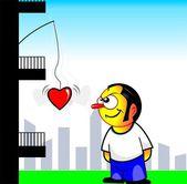 Pojken står nära en byggnad — Stockvektor