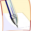 Stock Vector: Pen writing on a paper