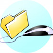 Stock Vector: Optical mouse with folder