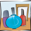 Costume articles near a mirror — Stock Vector