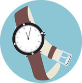 White dial wrist watch — Stock Vector