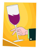 Hand holding wine filled goblets — Stock Vector