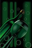 Sprit flaska och flammande vin — Stockvektor