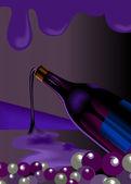Liquor bottle and goblet of wine — Stockvector