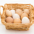 Stock Photo: Basket with eggs