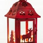 Lantern Christmas with reindeer — Stock Photo