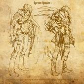 Two warriors — Stock Vector