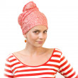 Stock Photo: Lovely young womin red scarf on her head