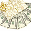 Hundred-dollar bills on a white background gift wrap — Stock Photo