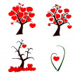 Love tree set — Vettoriale Stock #29892415