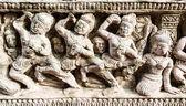 High relief sculpture stone about human — Foto de Stock
